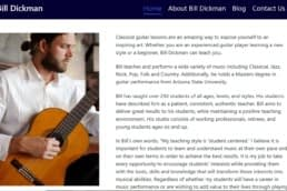 Image of Bill Dickman's website home page. Bill Dickman is a local guitar teacher in Madison, WI.