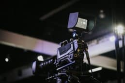 Video camera with monitor prepared for a live production.