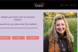 Home page of laurakuhl.com, which was designed by 608 Media Productions.